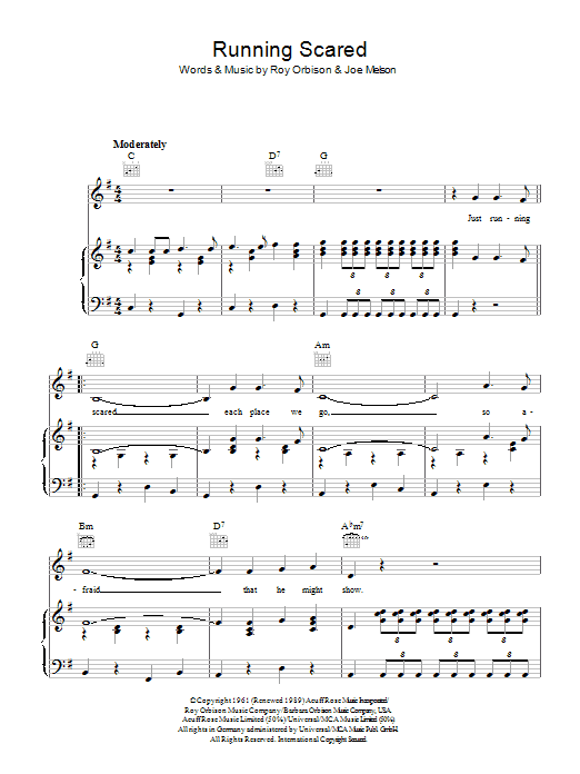 Roy Orbison Running Scared sheet music preview music notes and score for Piano, Vocal & Guitar (Right-Hand Melody) including 4 page(s)
