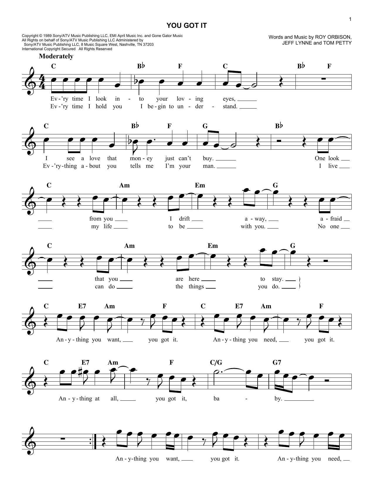 Roy Orbison You Got It sheet music notes and chords