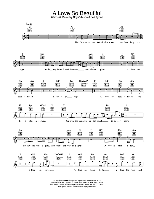 Roy Orbison & Jeff Lynne A Love So Beautiful sheet music preview music notes and score for Melody Line, Lyrics & Chords including 2 page(s)