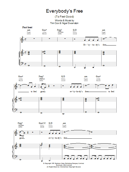 Rozalla Everybody's Free (To Feel Good) sheet music preview music notes and score for Piano, Vocal & Guitar (Right-Hand Melody) including 5 page(s)