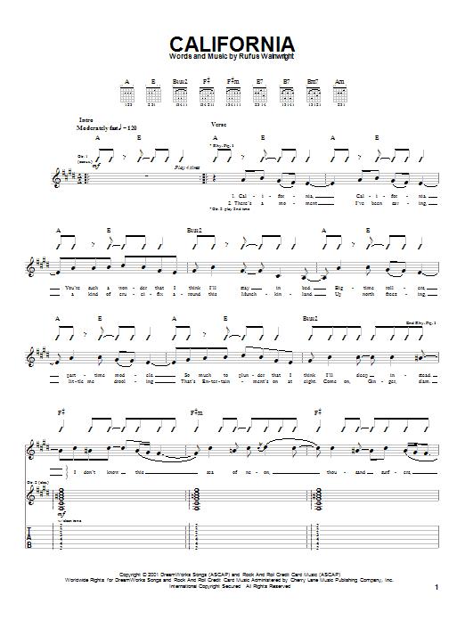 Rufus Wainwright California sheet music notes and chords