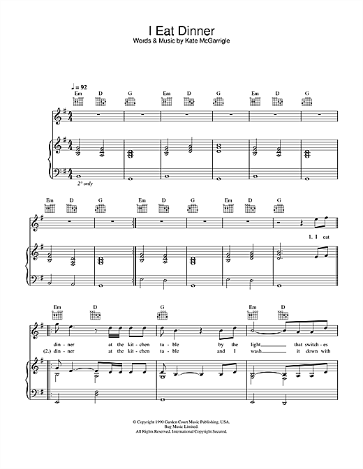 Rufus Wainwright & Dido I Eat Dinner (from Bridget Jones: The Edge Of Reason) sheet music notes and chords