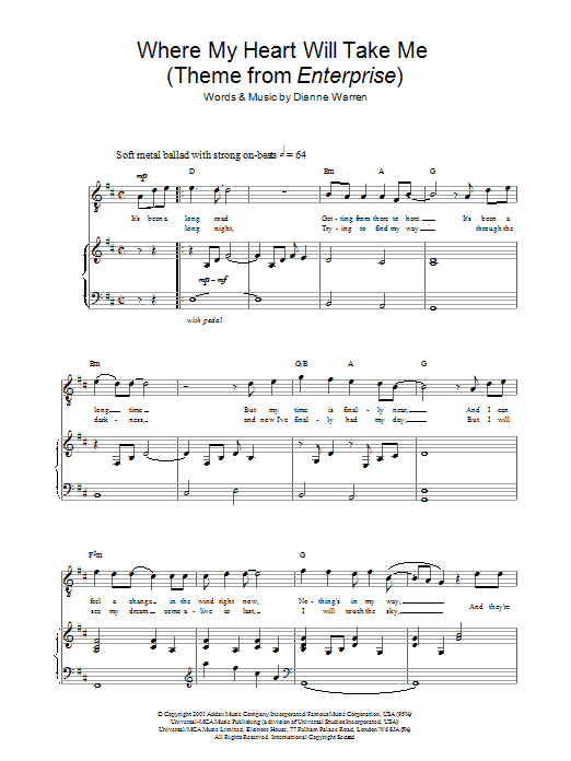 Russell Watson Where My Heart Will Take Me (theme from Star Trek: Enterprise) sheet music preview music notes and score for Piano, Vocal & Guitar including 7 page(s)