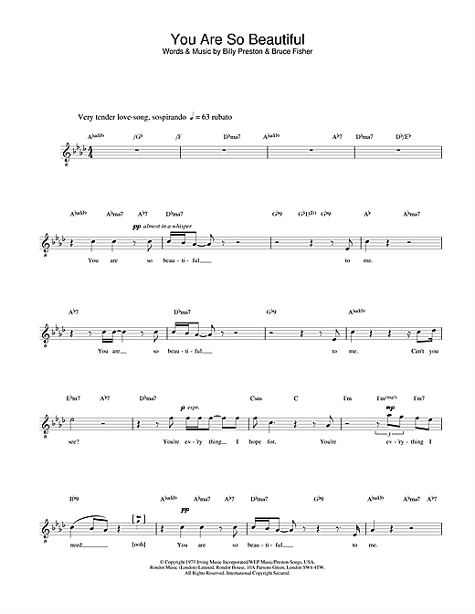 Russell Watson You Are So Beautiful sheet music preview music notes and score for Melody Line, Lyrics & Chords including 2 page(s)