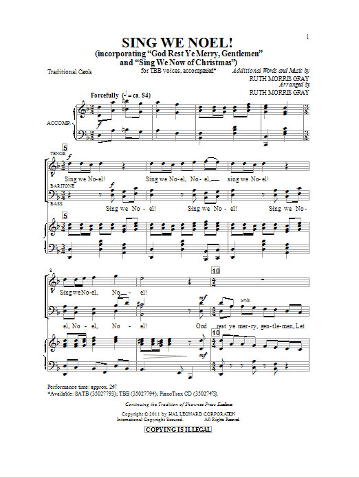 Download Traditional Carol 'Sing We Noel (arr. Ruth Morris Gray)' Digital Sheet Music Notes & Chords and start playing in minutes