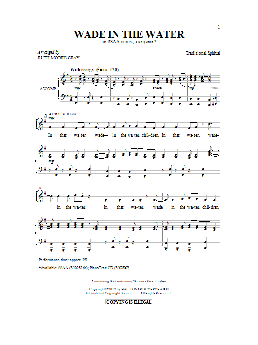 Ruth Morris Gray Wade In The Water sheet music preview music notes and score for SSA including 10 page(s)
