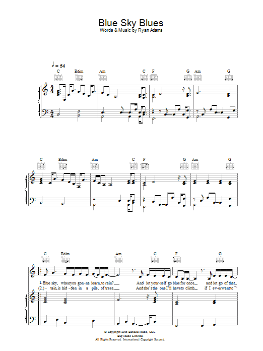 Ryan Adams Blue Sky Blues sheet music preview music notes and score for Piano, Vocal & Guitar including 4 page(s)
