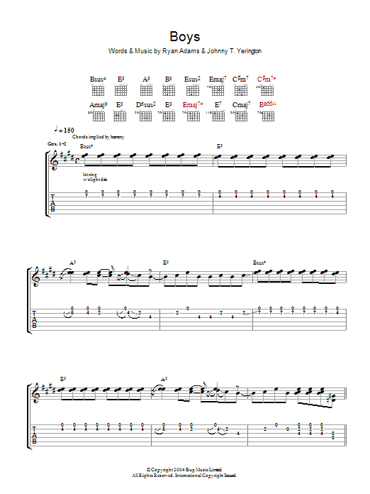 Ryan Adams Boys sheet music preview music notes and score for Guitar Tab including 10 page(s)