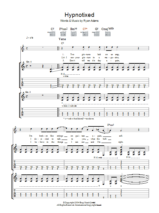 Ryan Adams Hypnotixed sheet music preview music notes and score for Guitar Tab including 8 page(s)