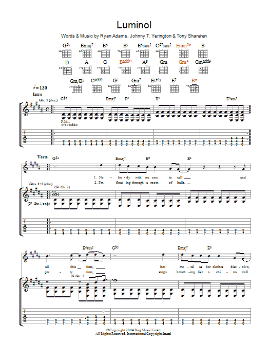 Ryan Adams Luminol sheet music preview music notes and score for Guitar Tab including 9 page(s)