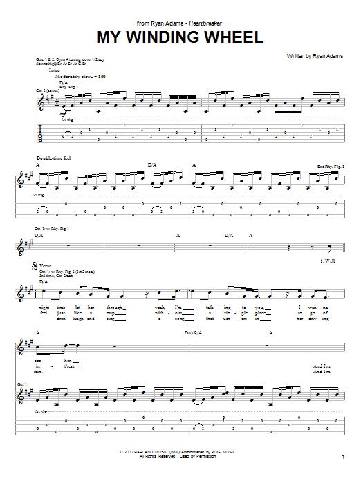 Ryan Adams My Winding Wheel sheet music notes and chords