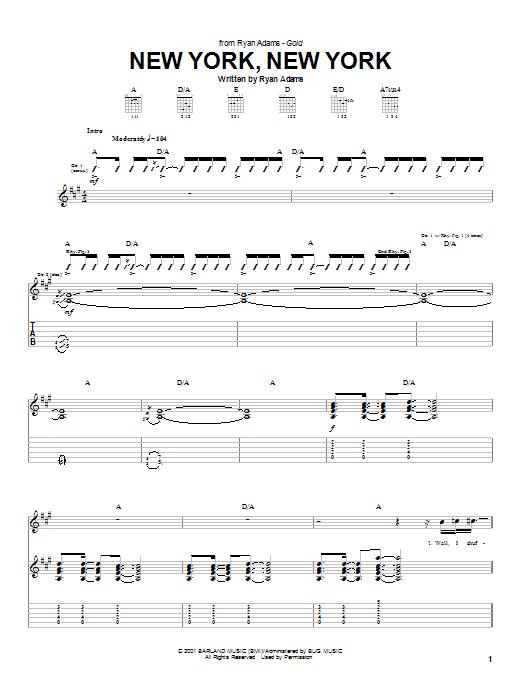 Ryan Adams New York, New York sheet music notes and chords
