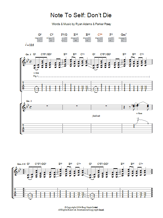 Ryan Adams Note To Self: Don't Die sheet music preview music notes and score for Guitar Tab including 5 page(s)
