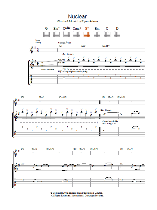 Ryan Adams Nuclear sheet music preview music notes and score for Keyboard including 2 page(s)