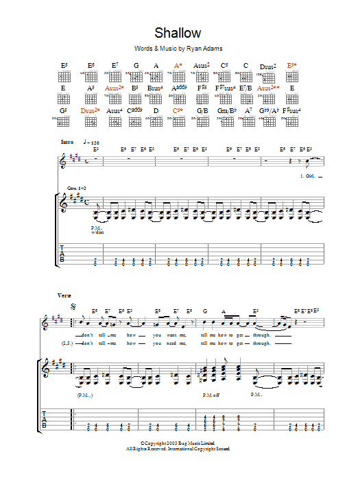 Ryan Adams Shallow sheet music preview music notes and score for Guitar Tab including 10 page(s)
