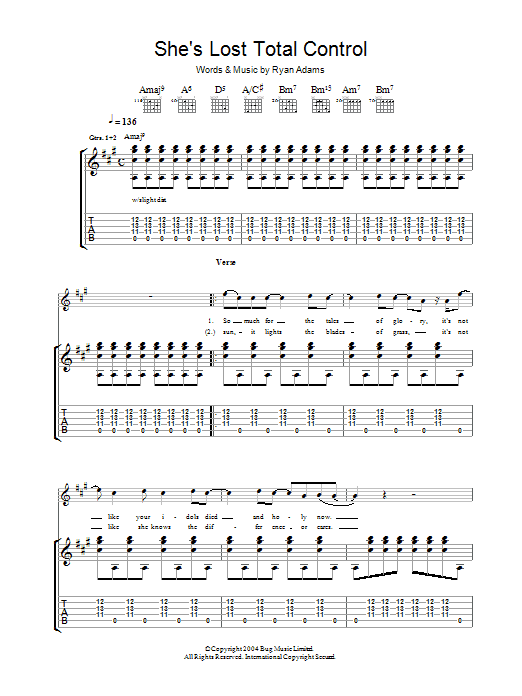 Ryan Adams She's Lost Total Control sheet music preview music notes and score for Guitar Tab including 11 page(s)