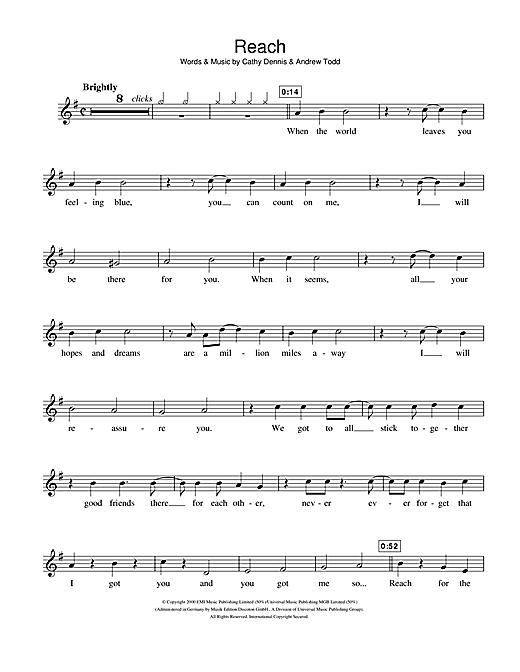 S Club 7 Reach sheet music notes and chords