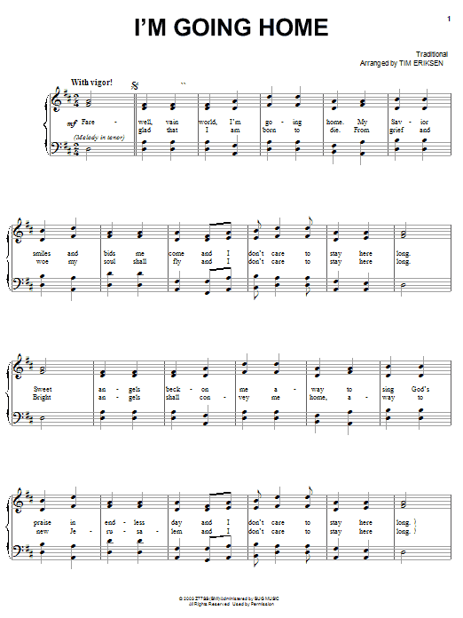 Sacred Harp Singers At Liberty Church I'm Going Home sheet music preview music notes and score for Piano, Vocal & Guitar (Right-Hand Melody) including 2 page(s)