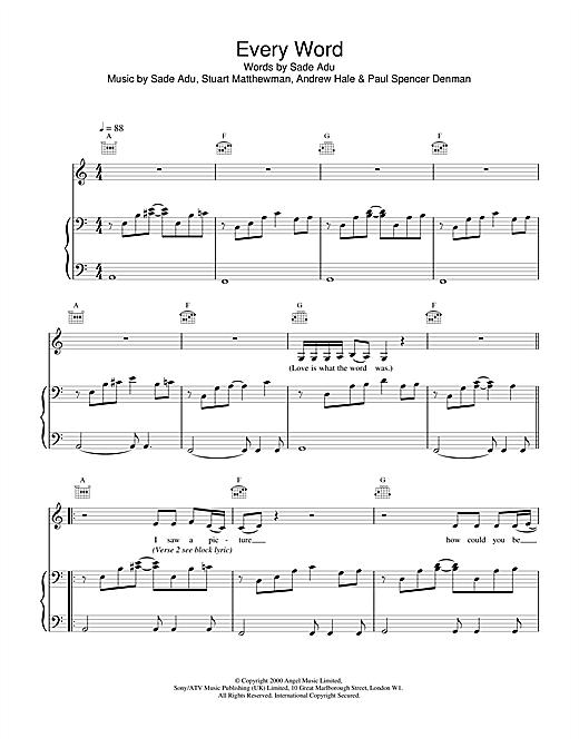 Sade Every Word sheet music notes and chords