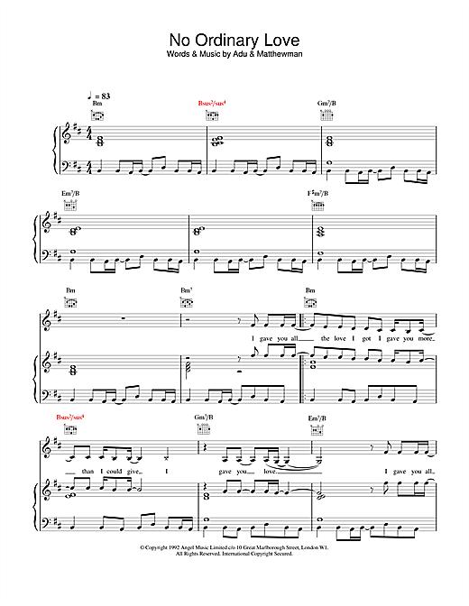 Sade No Ordinary Love sheet music notes and chords