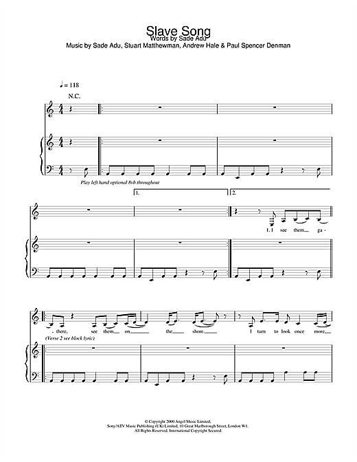 Sade Slave Song sheet music notes and chords