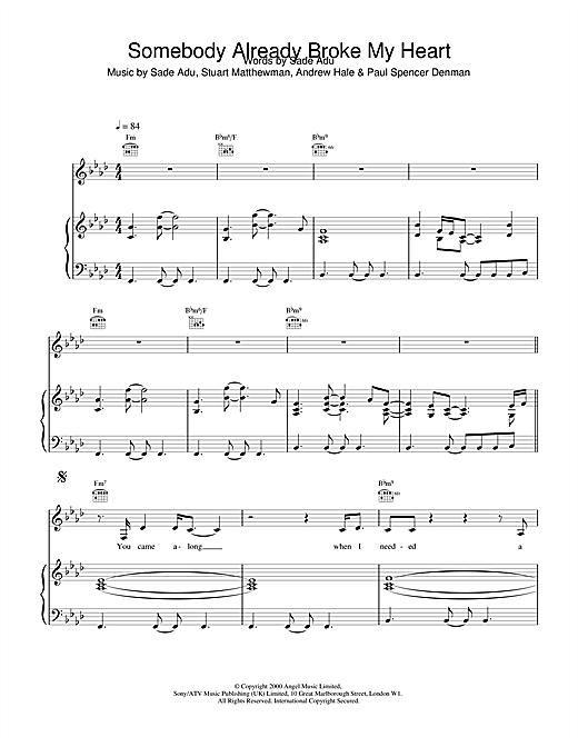 Sade Somebody Already Broke My Heart sheet music notes and chords
