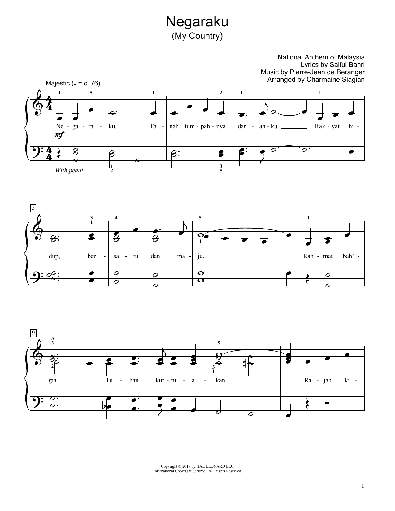 Saiful Bahri My Country (Negaraku) (arr. Charmaine Siagian) sheet music preview music notes and score for Educational Piano including 2 page(s)
