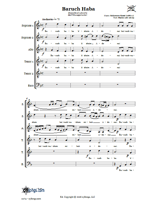 Salamone Rossi Baruch Haba (Blessed be all who come) sheet music preview music notes and score for Choral 6-Part including 7 page(s)
