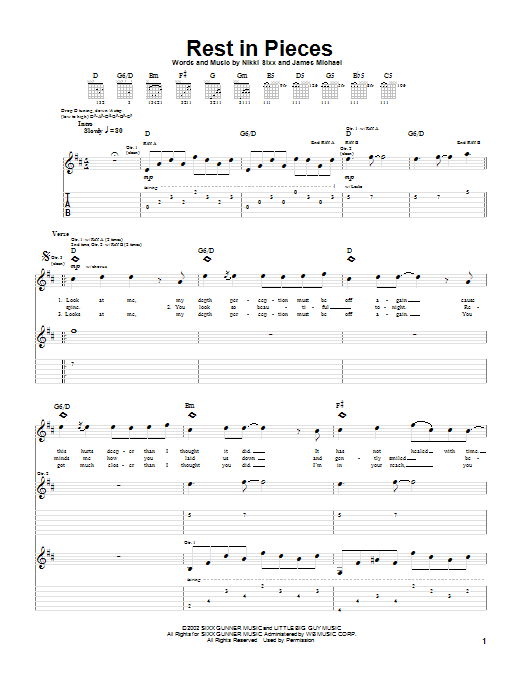 Saliva Rest In Pieces sheet music preview music notes and score for Guitar Tab including 6 page(s)
