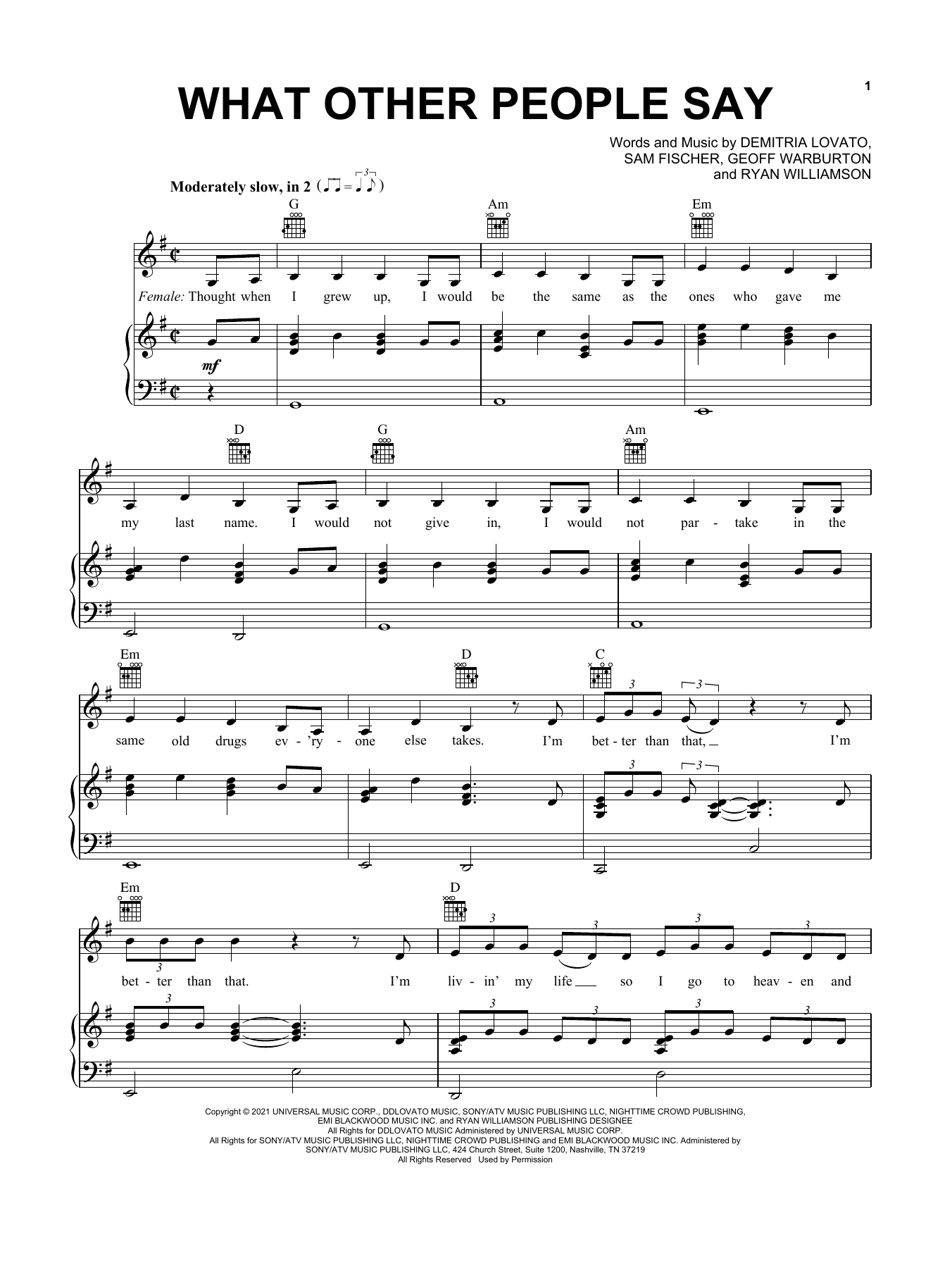 Sam Fischer & Demi Lovato What Other People Say sheet music preview music notes and score for Piano, Vocal & Guitar (Right-Hand Melody) including 7 page(s)