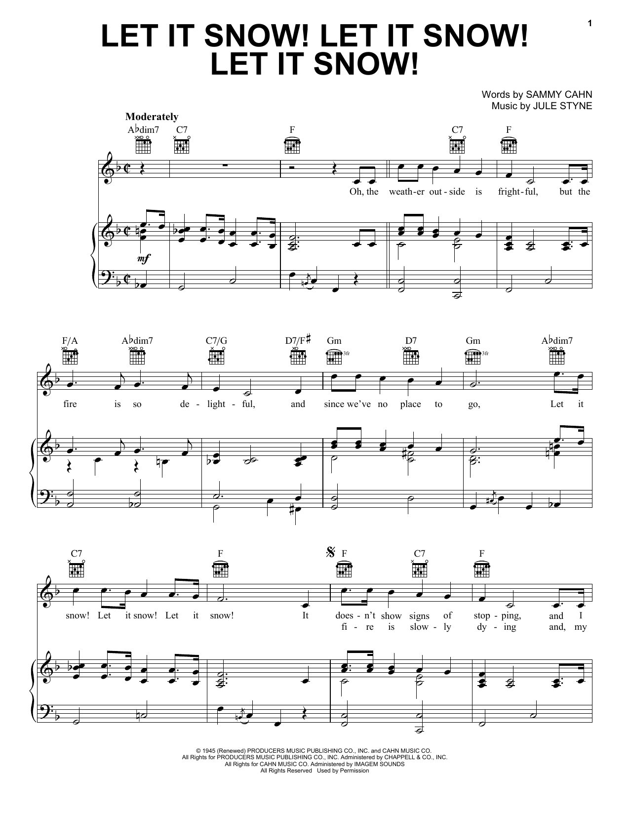 Sammy Cahn Let It Snow! Let It Snow! Let It Snow! sheet music preview music notes and score for Easy Piano including 5 page(s)