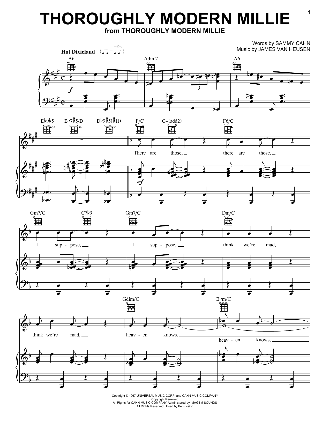 Sammy Cahn Thoroughly Modern Millie sheet music preview music notes and score for Piano, Vocal & Guitar (Right-Hand Melody) including 10 page(s)