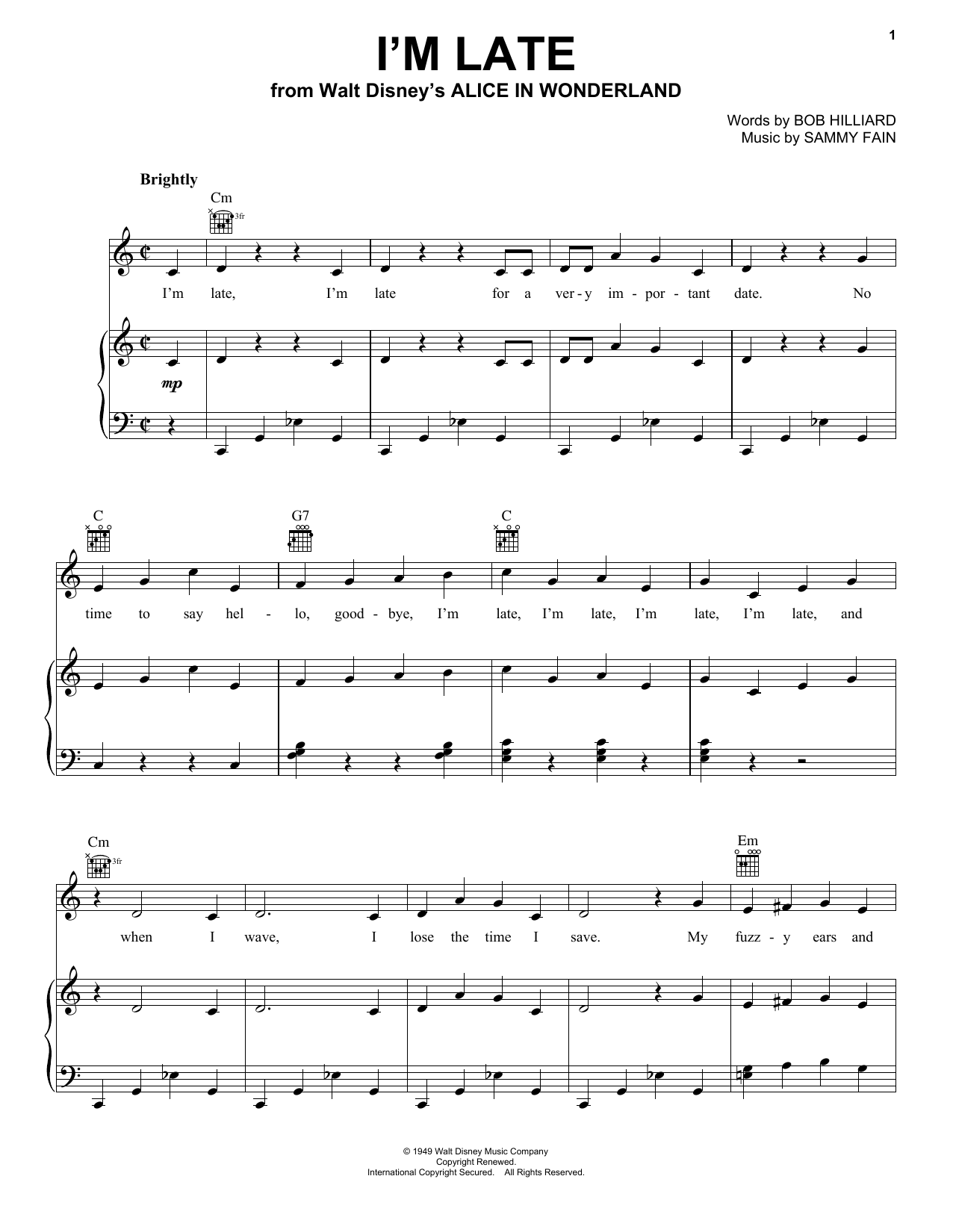 Download Sammy Fain 'I'm Late' Digital Sheet Music Notes & Chords and start playing in minutes