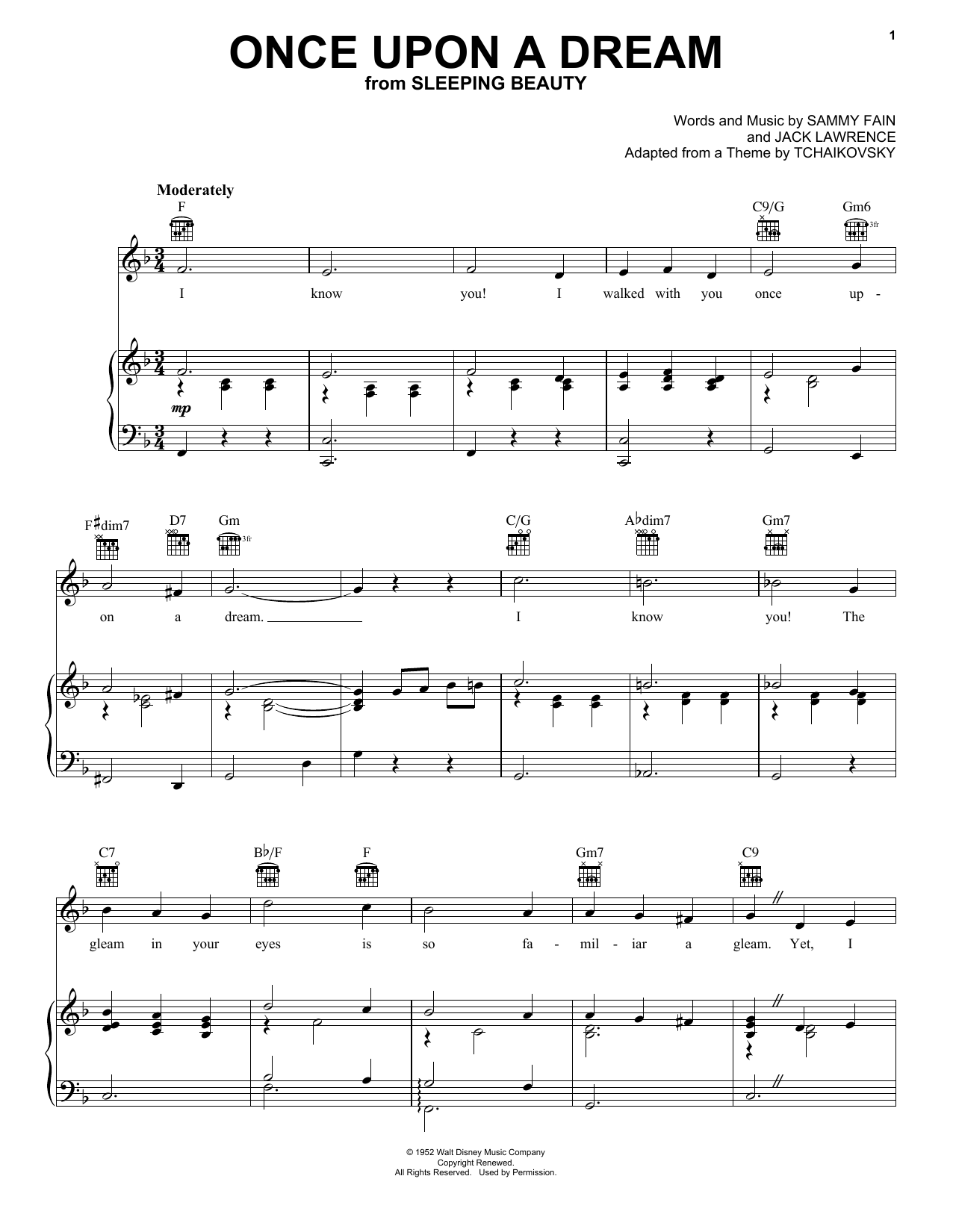 Sammy Fain Once Upon A Dream sheet music preview music notes and score for Easy Piano including 2 page(s)