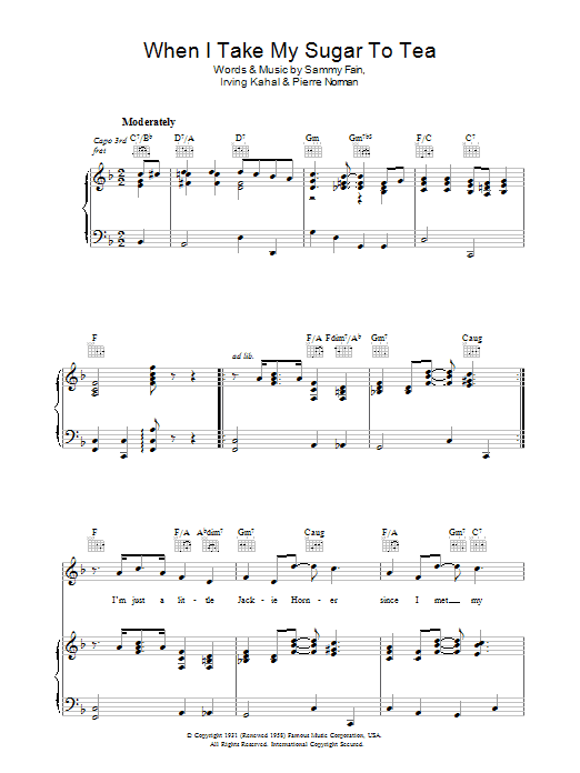 Sammy Fain When I Take My Sugar To Tea sheet music preview music notes and score for Piano, Vocal & Guitar (Right-Hand Melody) including 4 page(s)