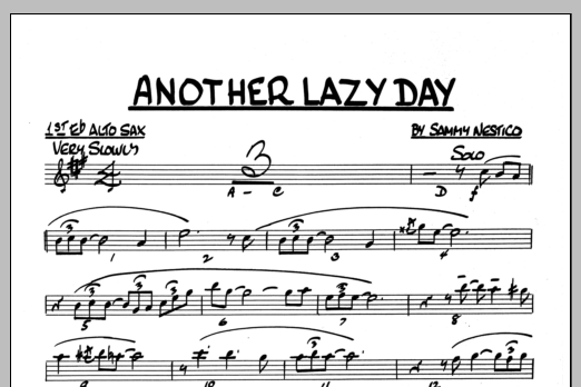 Sammy Nestico Another Lazy Day - 1st Eb Alto Saxophone sheet music preview music notes and score for Jazz Ensemble including 1 page(s)