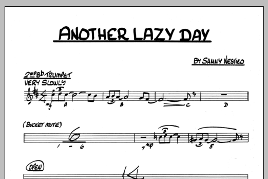 Sammy Nestico Another Lazy Day - 2nd Bb Trumpet sheet music preview music notes and score for Jazz Ensemble including 1 page(s)