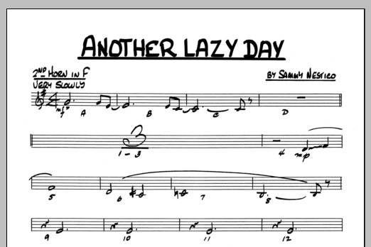 Sammy Nestico Another Lazy Day - 2nd Horn in F sheet music preview music notes and score for Jazz Ensemble including 1 page(s)