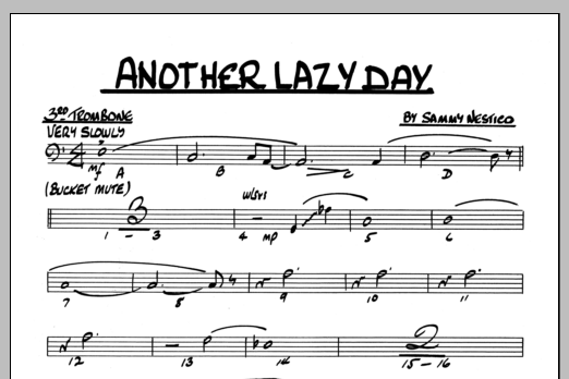 Sammy Nestico Another Lazy Day - 3rd Trombone sheet music preview music notes and score for Jazz Ensemble including 1 page(s)