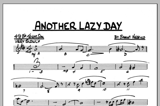 Sammy Nestico Another Lazy Day - 4TH Bb TENOR SAXOPHONE sheet music preview music notes and score for Jazz Ensemble including 1 page(s)