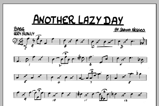 Sammy Nestico Another Lazy Day - Bass sheet music preview music notes and score for Jazz Ensemble including 1 page(s)