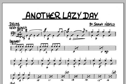 Sammy Nestico Another Lazy Day - Drums sheet music preview music notes and score for Jazz Ensemble including 1 page(s)