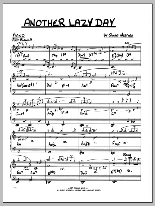 Sammy Nestico Another Lazy Day - Piano sheet music preview music notes and score for Jazz Ensemble including 2 page(s)
