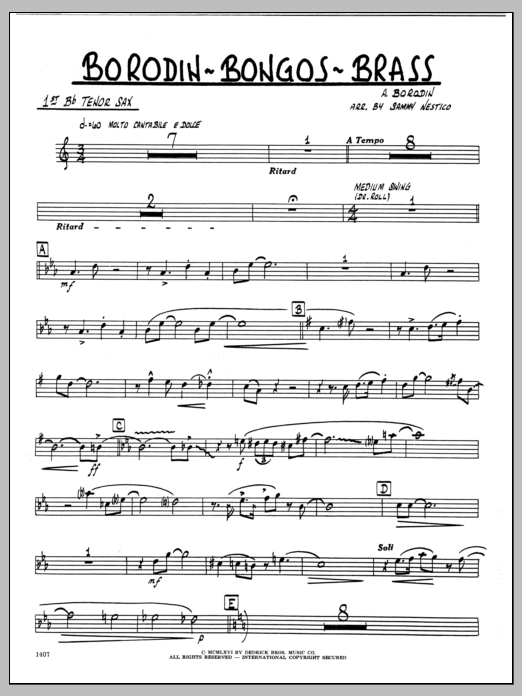 Sammy Nestico Borodin-Bongos-Brass - 1st Bb Tenor Saxophone sheet music preview music notes and score for Jazz Ensemble including 2 page(s)