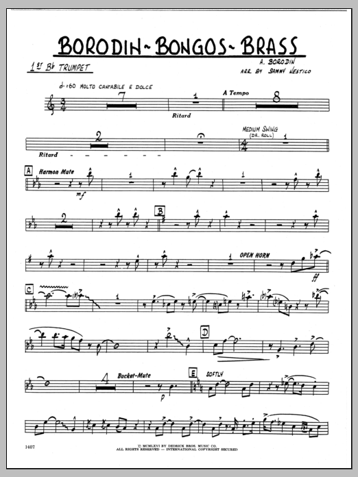 Sammy Nestico Borodin-Bongos-Brass - 1st Bb Trumpet sheet music preview music notes and score for Jazz Ensemble including 2 page(s)