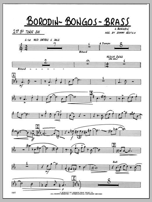 Sammy Nestico Borodin-Bongos-Brass - 2nd Bb Tenor Saxophone sheet music preview music notes and score for Jazz Ensemble including 2 page(s)