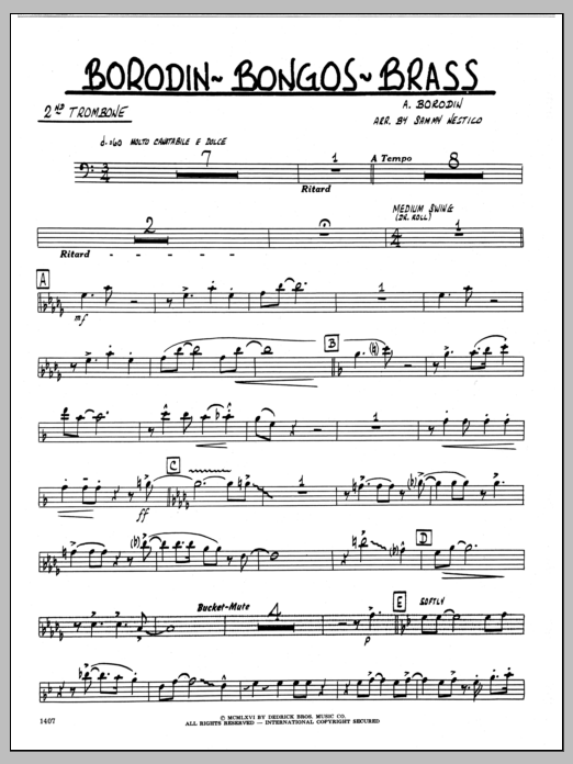 Sammy Nestico Borodin-Bongos-Brass - 2nd Trombone sheet music preview music notes and score for Jazz Ensemble including 2 page(s)