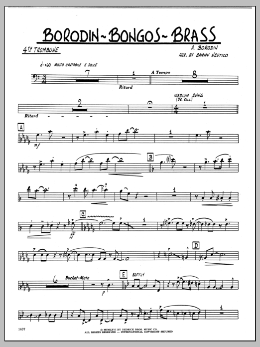 Sammy Nestico Borodin-Bongos-Brass - 4th Trombone sheet music preview music notes and score for Jazz Ensemble including 2 page(s)