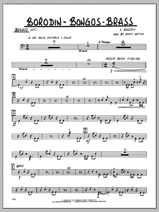 Sammy Nestico Borodin-Bongos-Brass - Bongos sheet music preview music notes and score for Jazz Ensemble including 2 page(s)