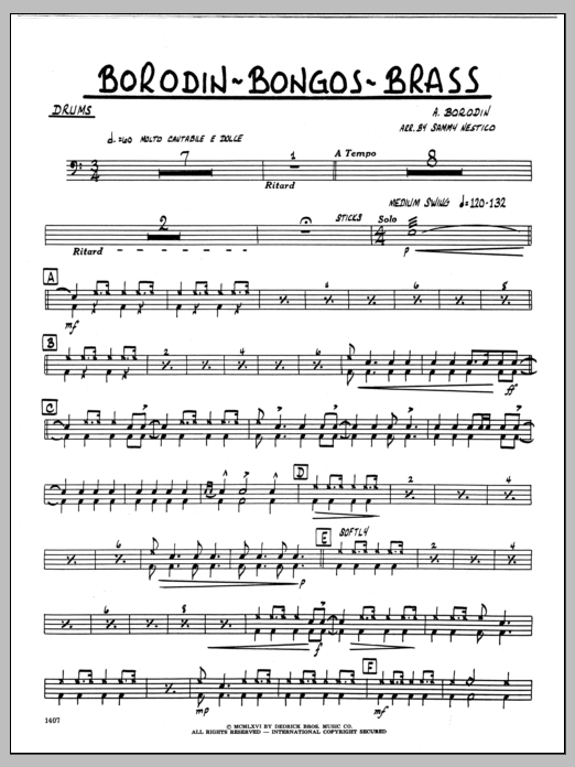 Sammy Nestico Borodin-Bongos-Brass - Drums sheet music preview music notes and score for Jazz Ensemble including 2 page(s)